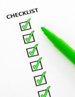Checklist of completed tasks, with green felt pen